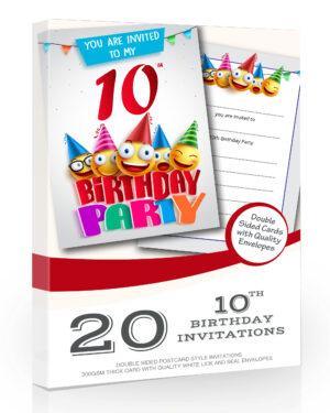 10th Birthday Party Invitations Emoji Style Pack 20