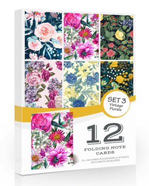12 x Vintage Floral Blank Note Cards/Notelets/Greeting Cards by Olivia Samuel. A6 Premium Folding Cards with Envelopes.