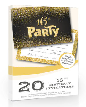 16th Birthday Invitations Black and Gold Style 20 Pack