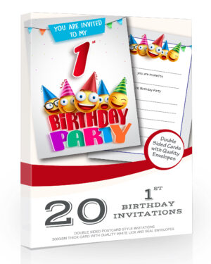 1st Birthday Party Invitations Emoji Style Pack 20