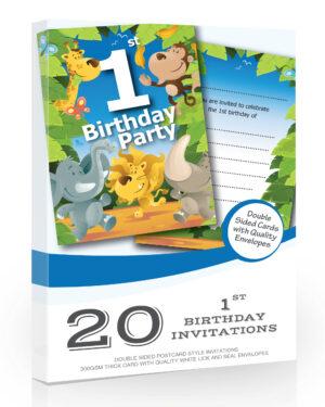 1st Birthday-Party Jungle Invitations Olivia Samuel Pack 20