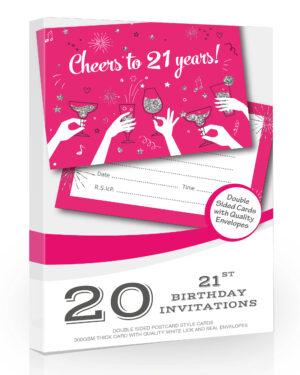 20 x Ladies 21st Birthday Party Invitations