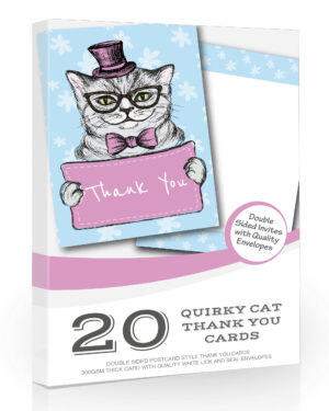 20 x Quirky Cat Thank You Card