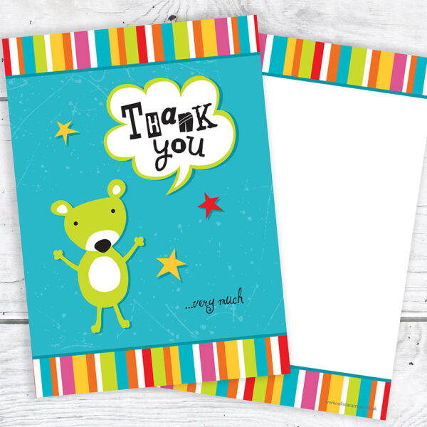 Kids Thank You Cards · Bear and Stripes - A6 Postcard Size (Pack of 10)