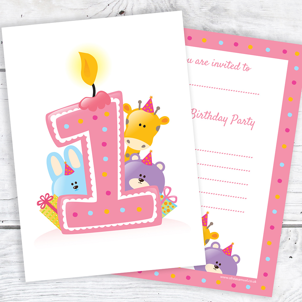 First Birthday Party Invitations – Pink Candle and Animals Design ...