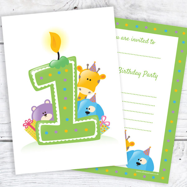 First Birthday Party Invites - Ready to Write - Candle & Animals - (Pack of 10)
