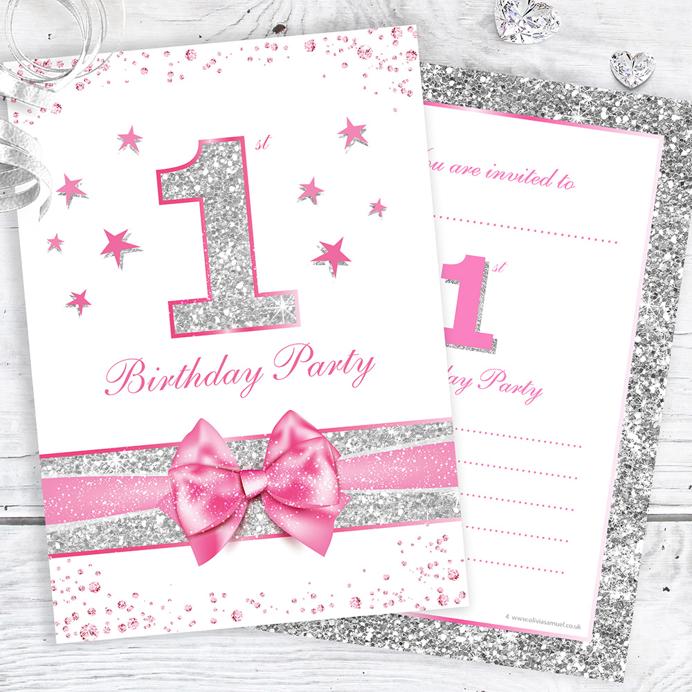 First Birthday Party Invitations - Pink Sparkly Design and Photo Effect Silver Glitter - A6 Postcard Size with envelopes (Pack of 10)