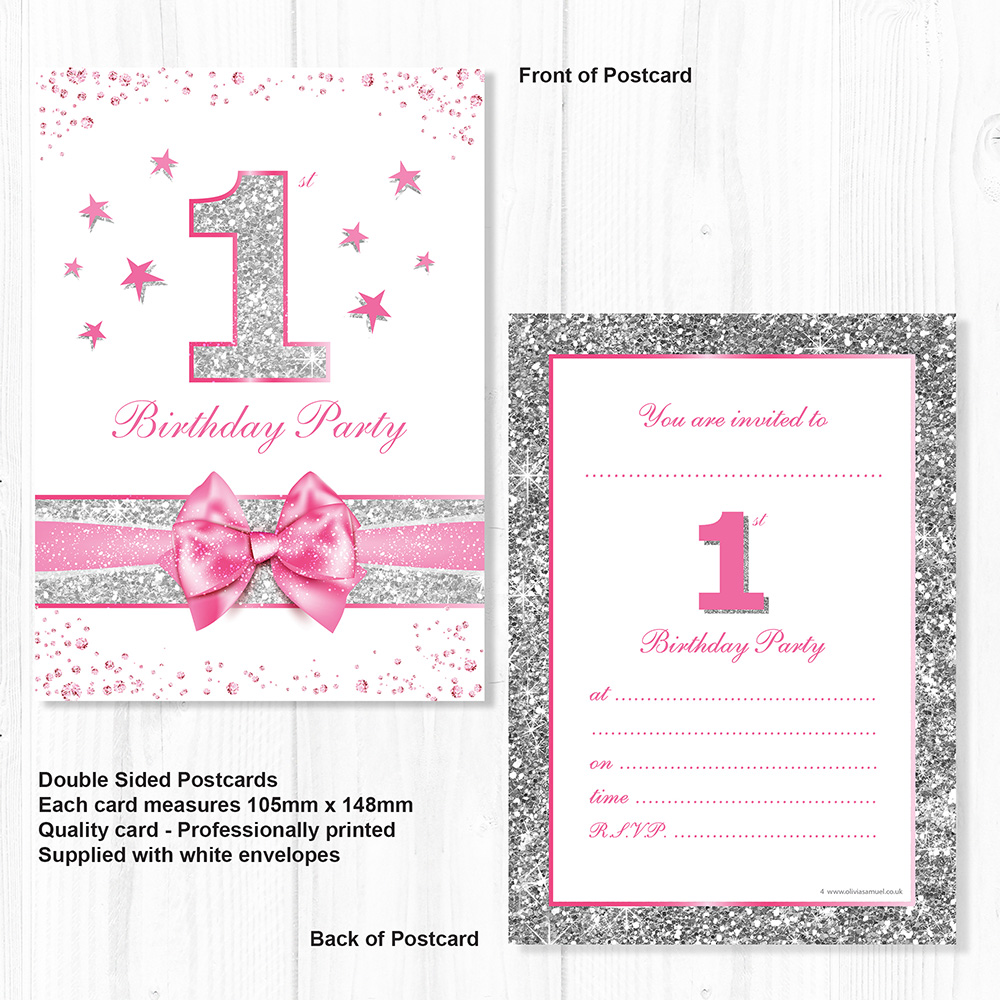 Superb First Birthday Party Invitations Pink With Photo Effect Silver Funny Birthday Cards Online Inifofree Goldxyz