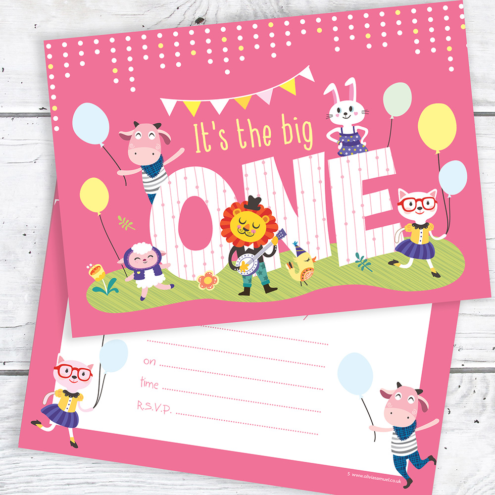 Pink 1st Birthday Party Invitations - The Big One - A6 Postcard Size with envelopes (Pack of 10)