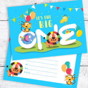 Blue 1st Birthday Party Invitations - The Big One - A6 Postcard Size with envelopes (Pack of 10)