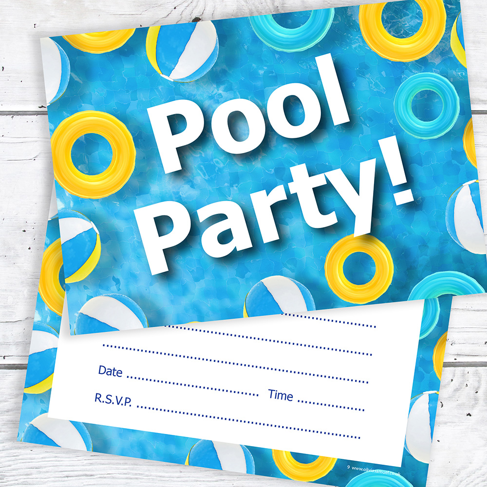 Pool Party Invitations – Kids Birthday – Ready to Write (Pack 10 ...