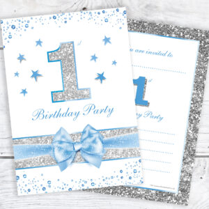 first birthday party invitations baby boy blue sparkly design and
