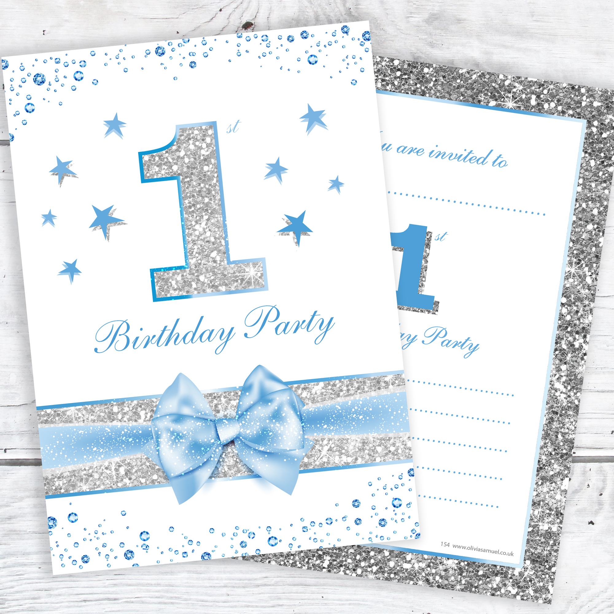 First Birthday Party Invitations – Baby Boy Blue Sparkly Design and Photo Effect Silver Glitter (Pack 10)