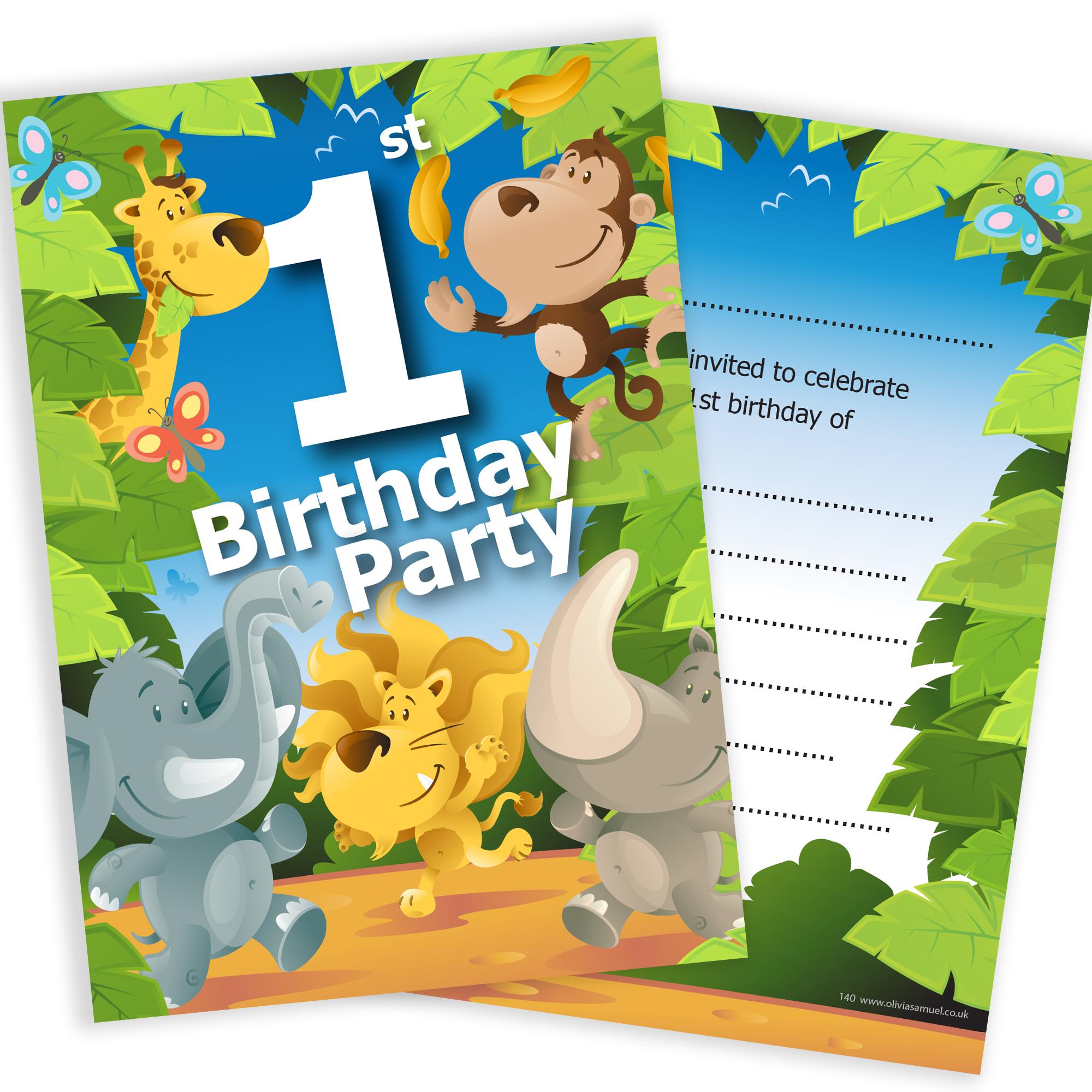 1st Birthday Jungle Theme Birthday Invites Pack 10. Home ...