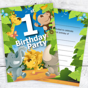 1st Birthday Jungle Theme Birthday Invites Pack 10