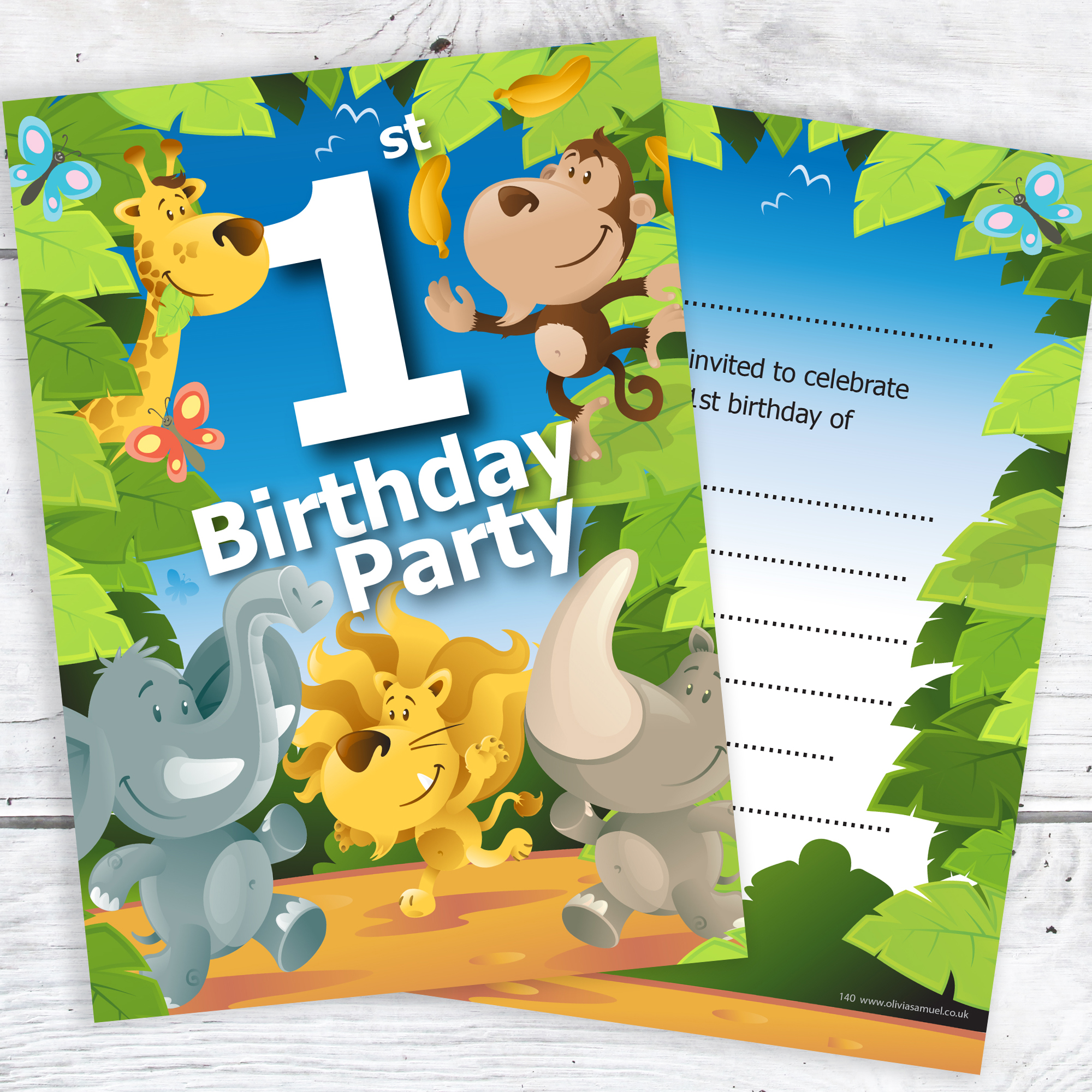 1st Birthday Party Jungle Themed Animal Invitations