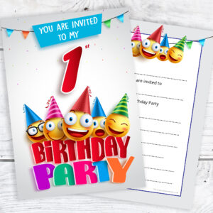 1st Birthday Party Emoji Party Invitations