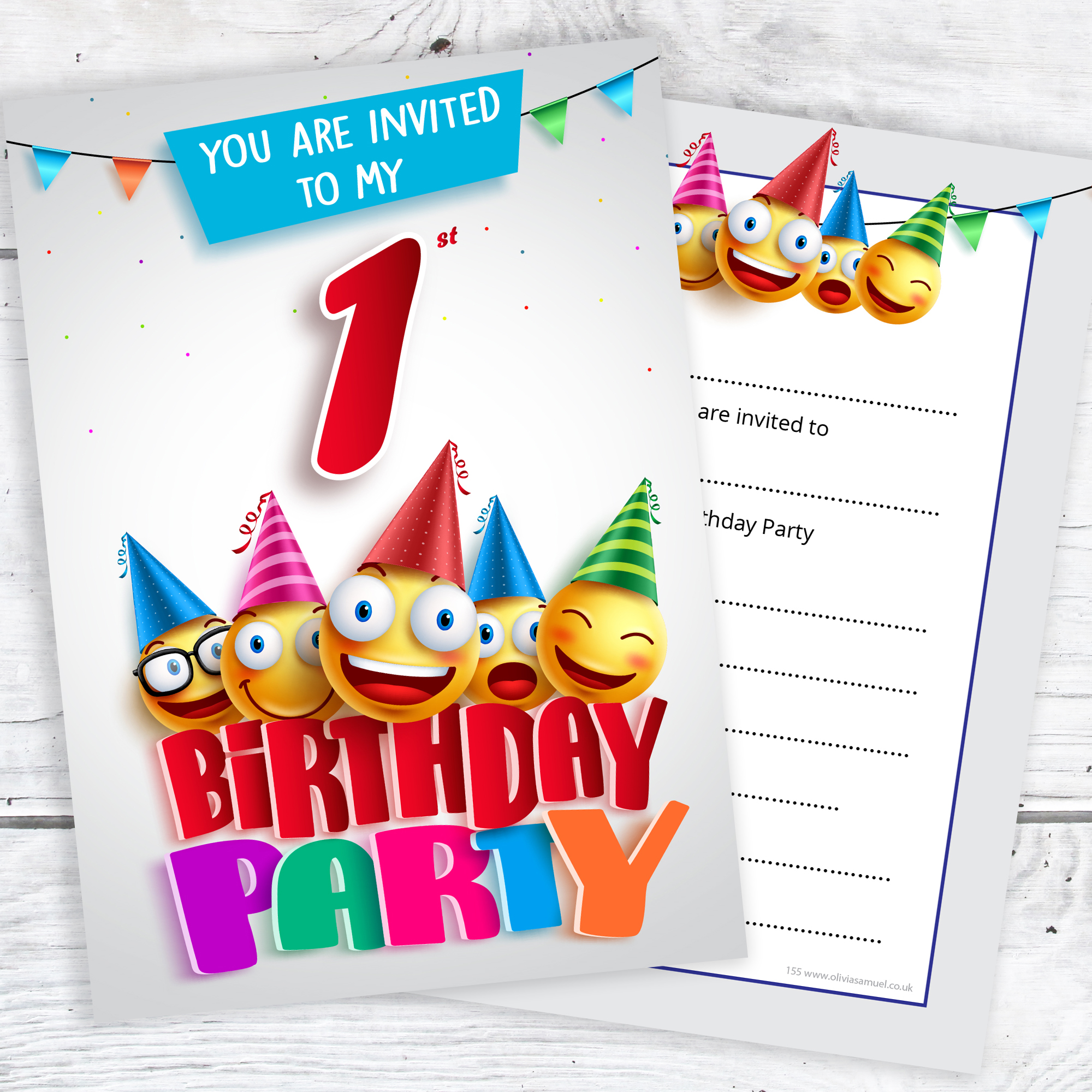 1st Birthday Party Emoji Invitations