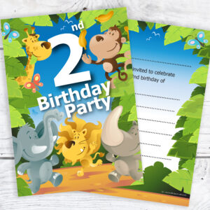 2nd Birthday Jungle Theme Birthday Invites Pack 10