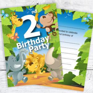 2nd Birthday Jungle Theme Birthday Invites Pack 10