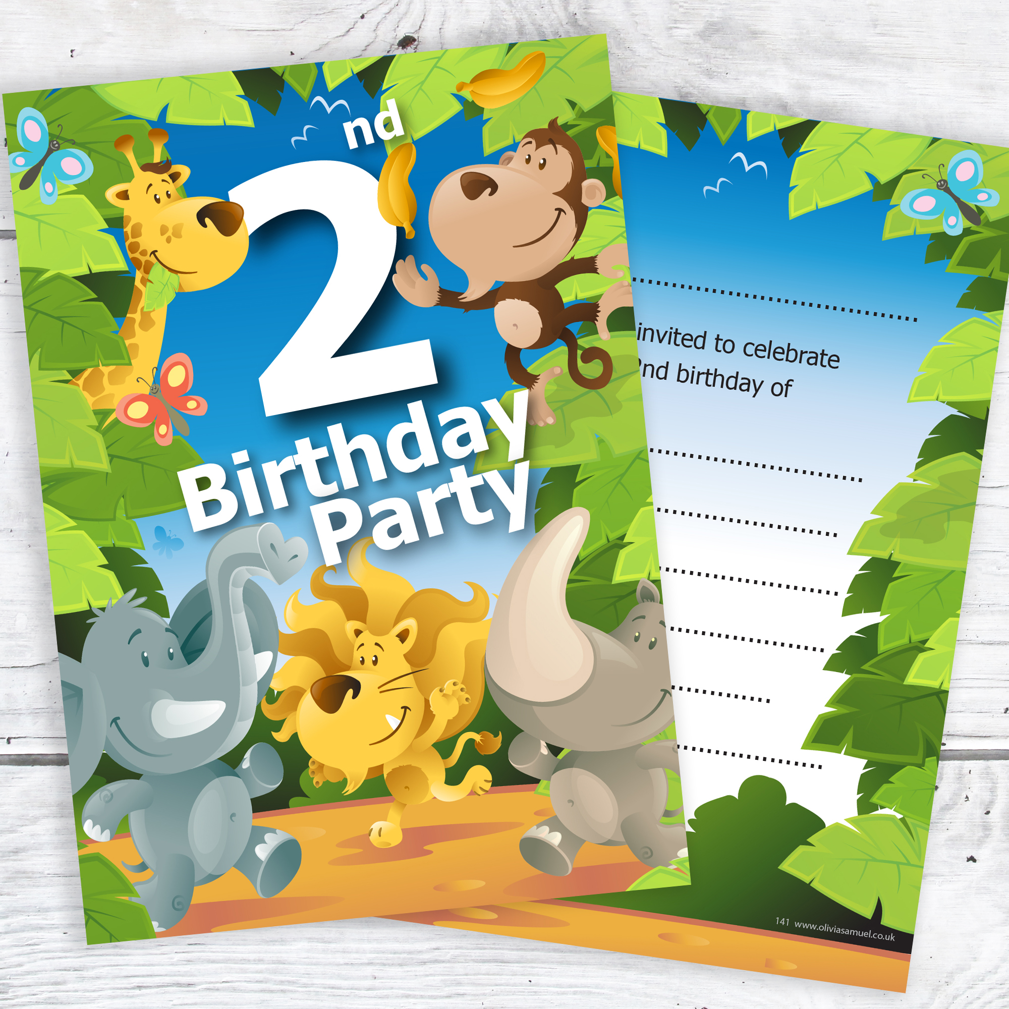 2nd Birthday Party Jungle Themed Animal Invitations – Ready to Write ...