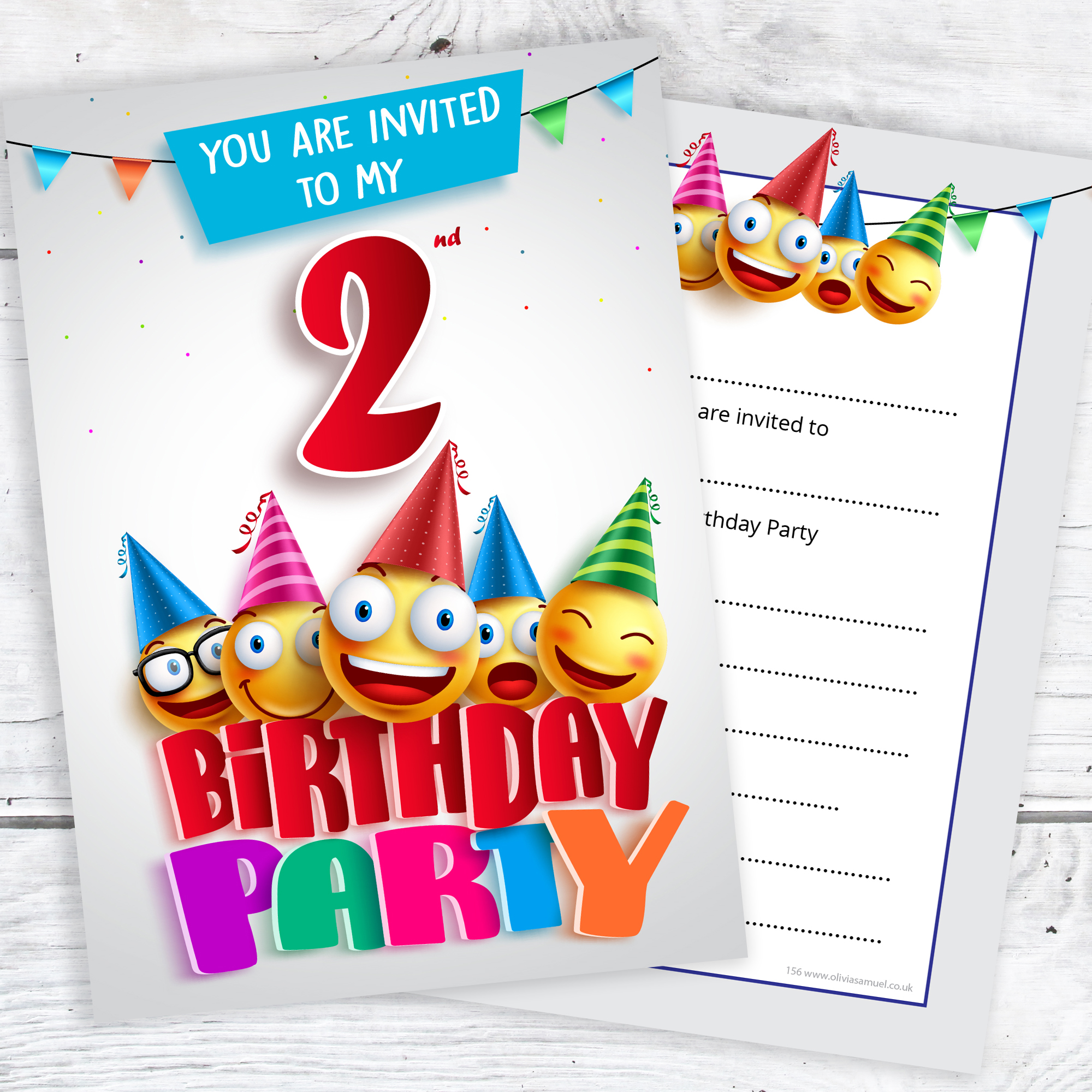 2nd Birthday Party Emoji Invitations