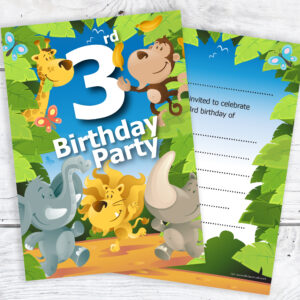 3rd Birthday Jungle Theme Invitations Pack 10