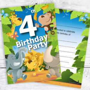 4th Birthday Jungle Invites