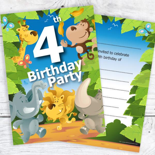 4th Birthday Jungle Invites