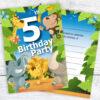 5th Birthday Party Jungle Invites