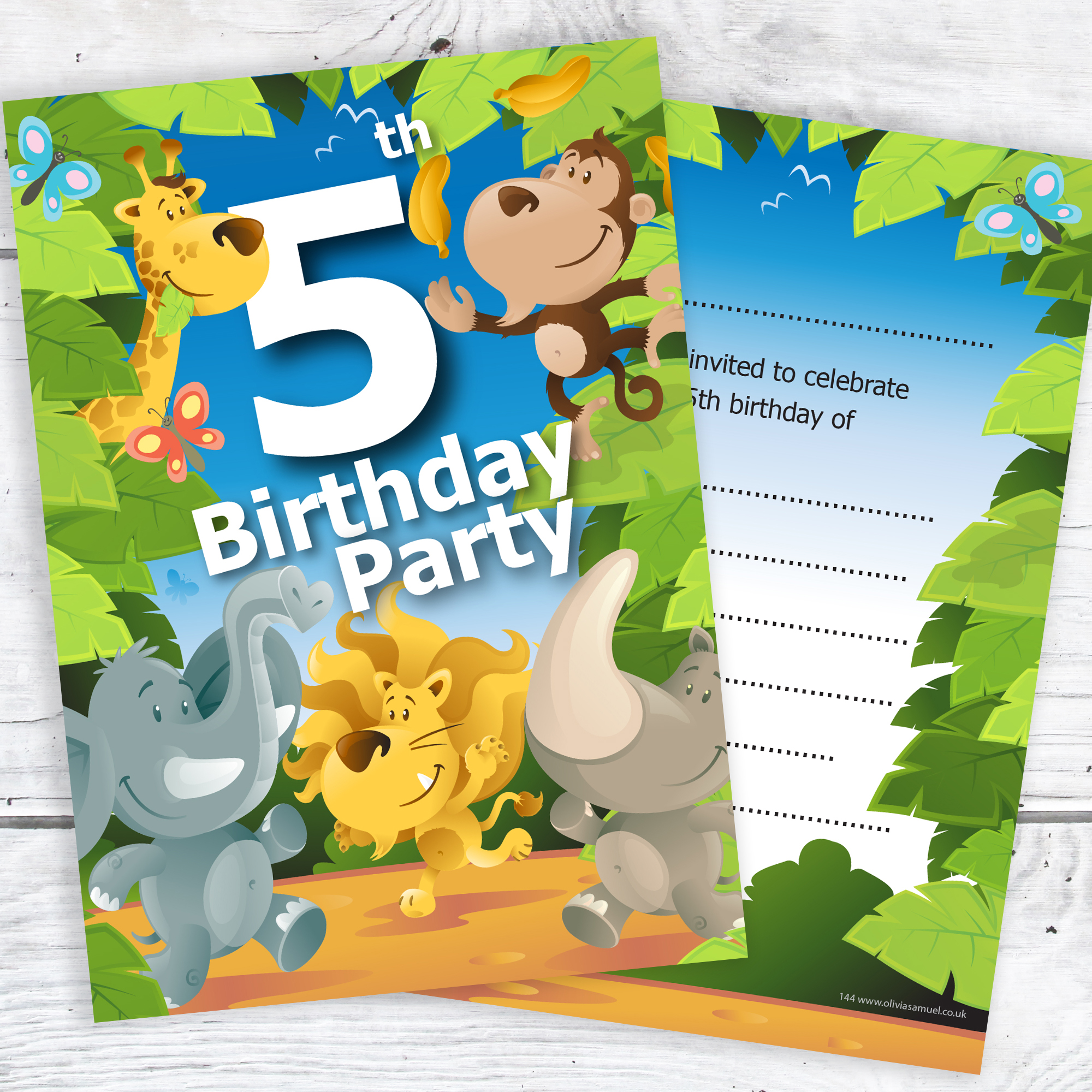 5th birthday party jungle themed animal invitations ready to write 5th birthday party jungle invites filmwisefo Image collections