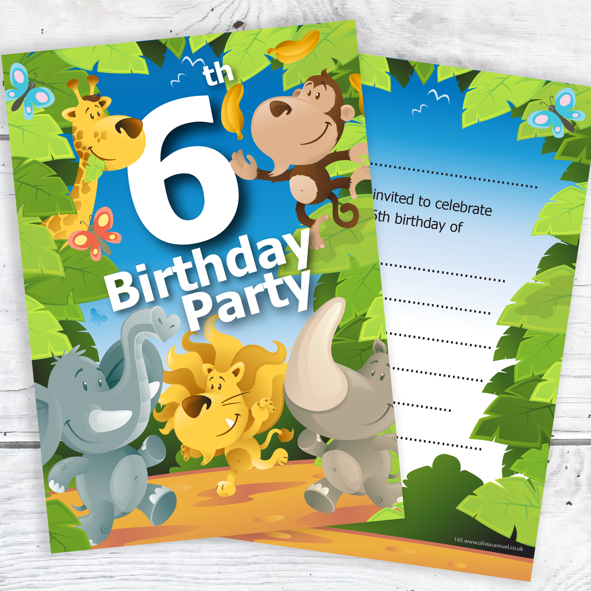 6th birthday party jungle themed animal invitations