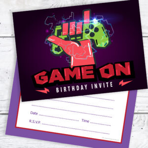 Gaming Party Birthday Invitations Ready to Write
