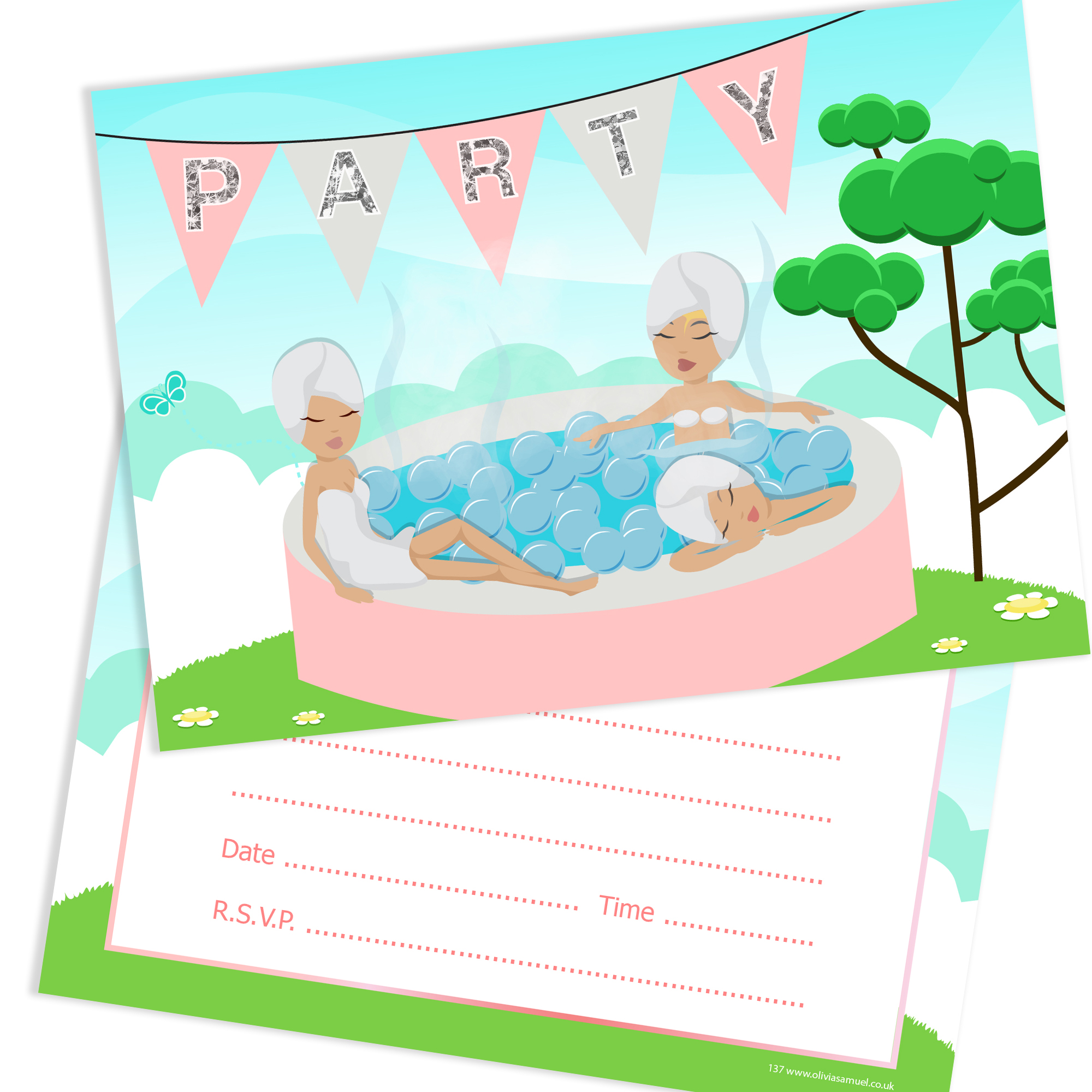 Girls Hot Tub Party Invitations Ready To Write With Envelopes