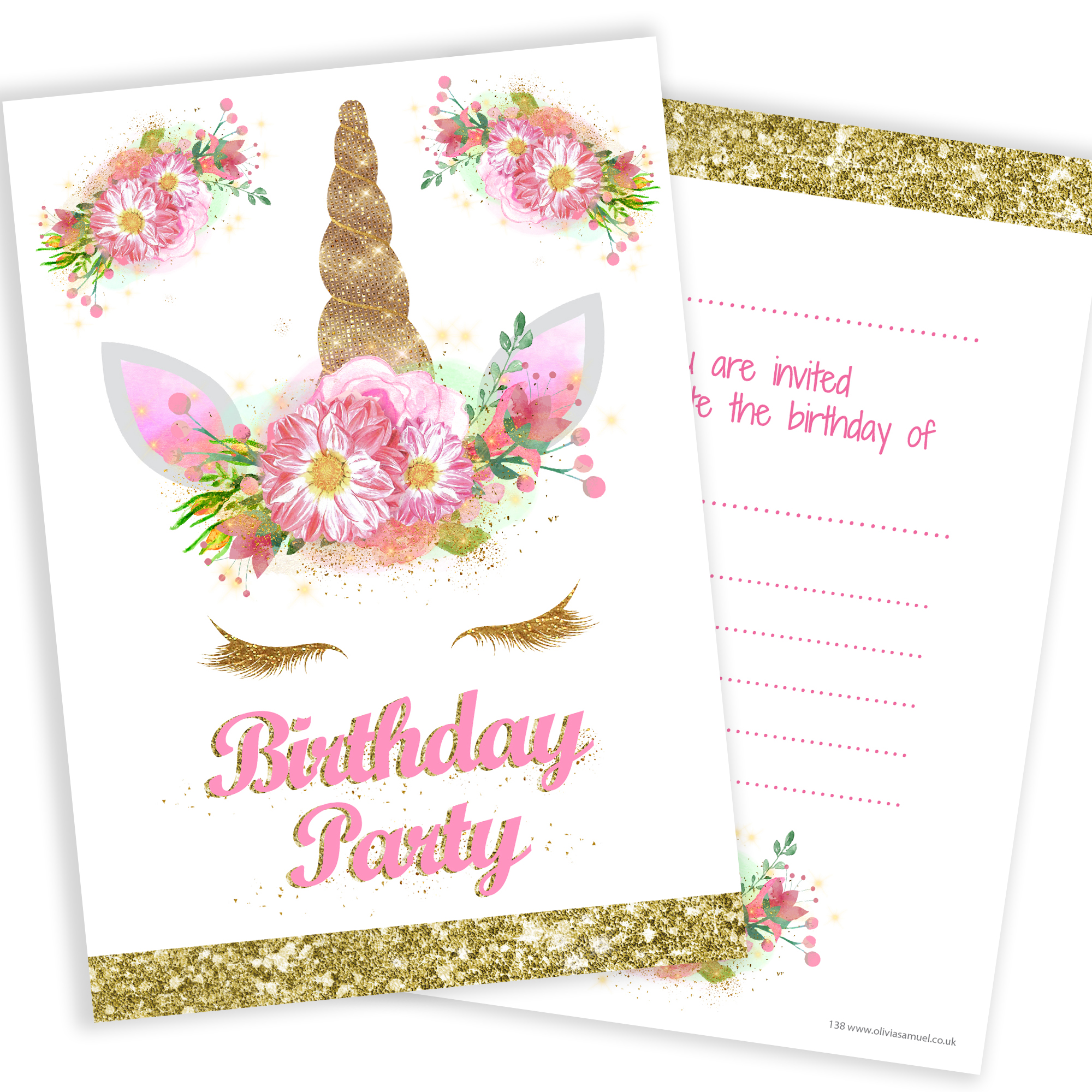 Unicorn Girls Party Invitations – Pink and Gold (Glitter effect ...
