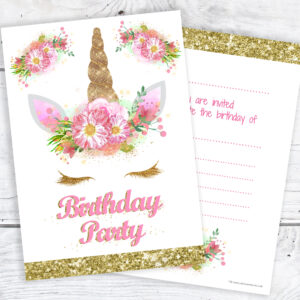 Girls Unicorn Birthday Party Invites Gold and Pink