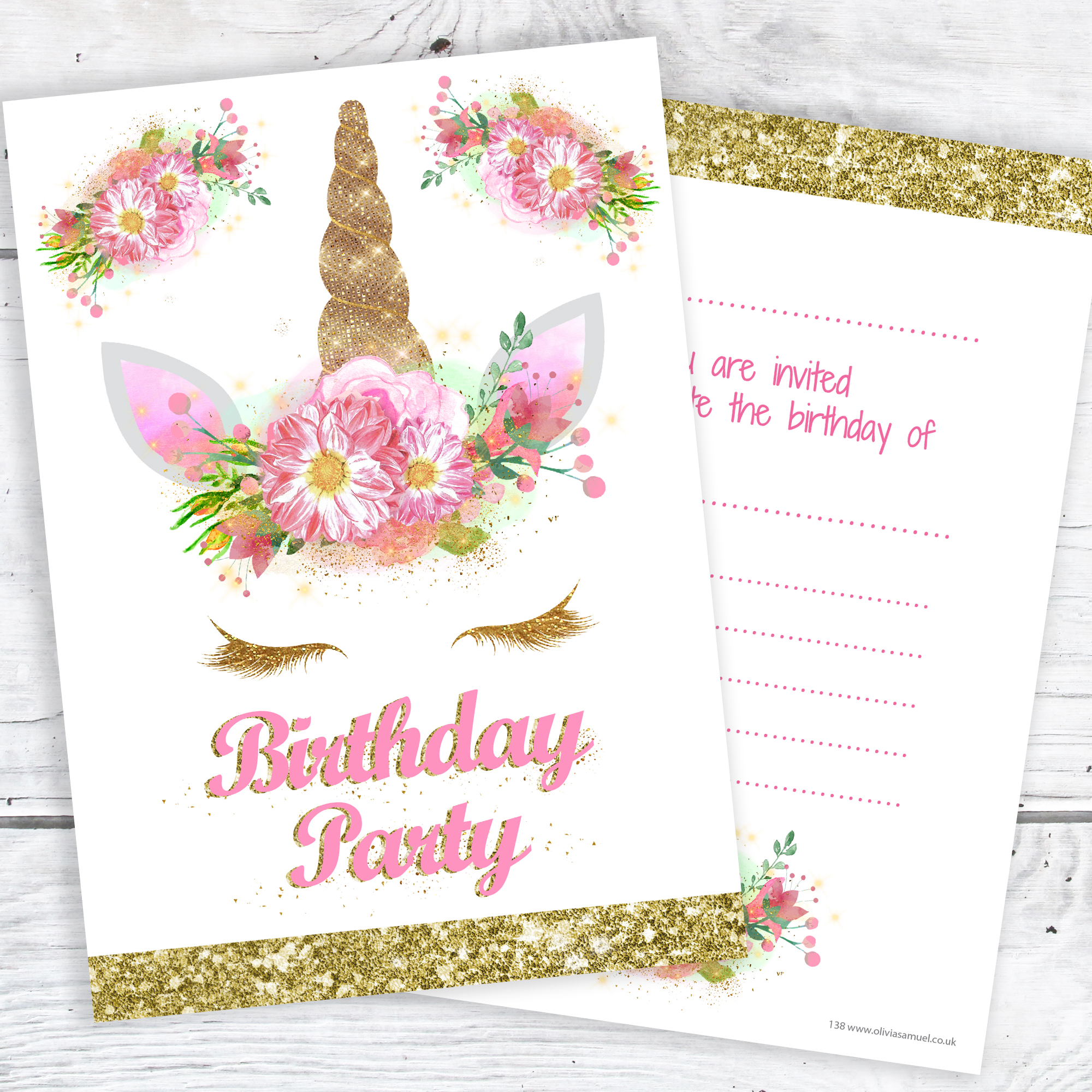 Unicorn Girls Party Invitations Pink and Gold Glitter effect