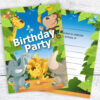 Jungle Birthday Party Invitations Pack 10