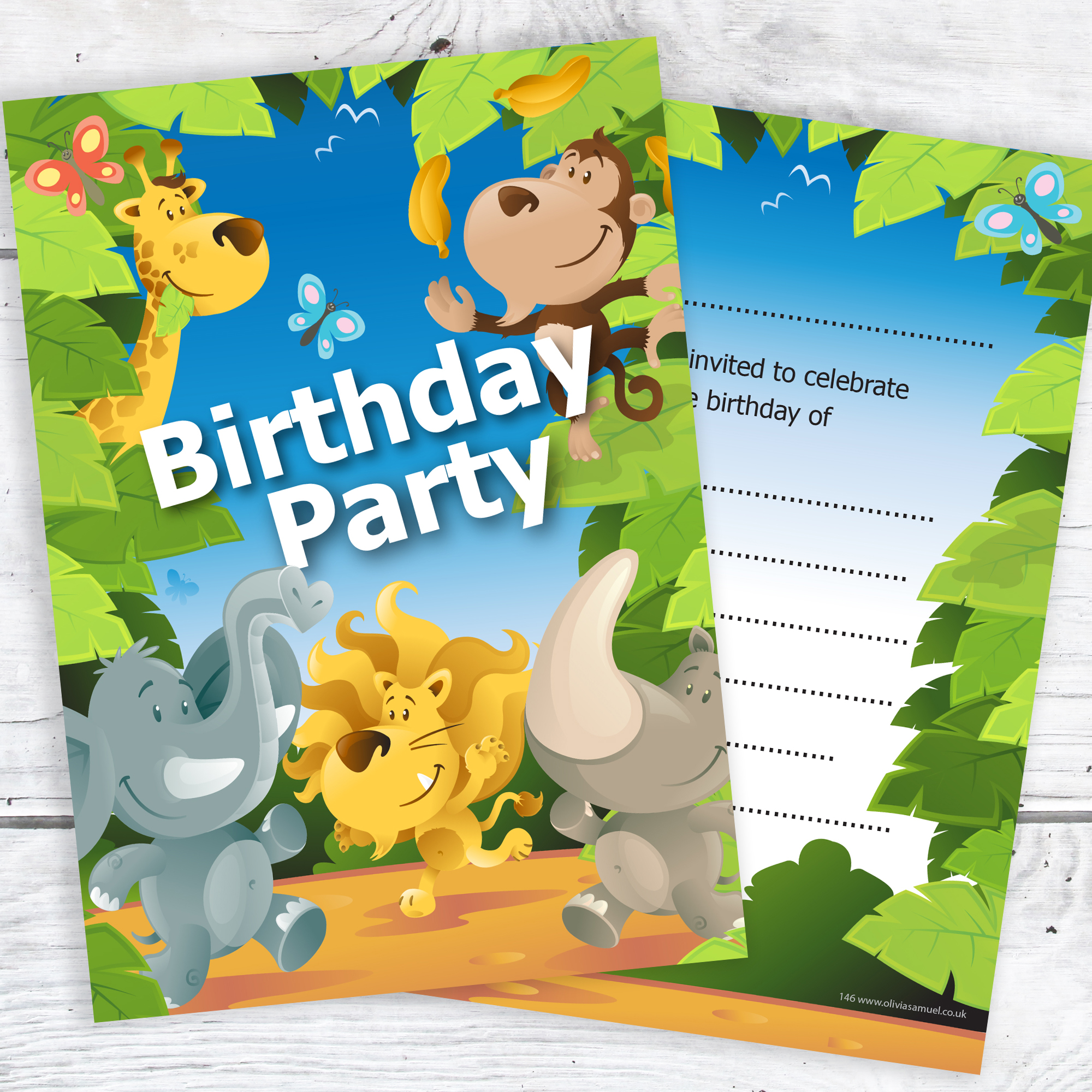 Jungle Animal Birthday Party Invitations Ready To Write With Envelopes Pack 10