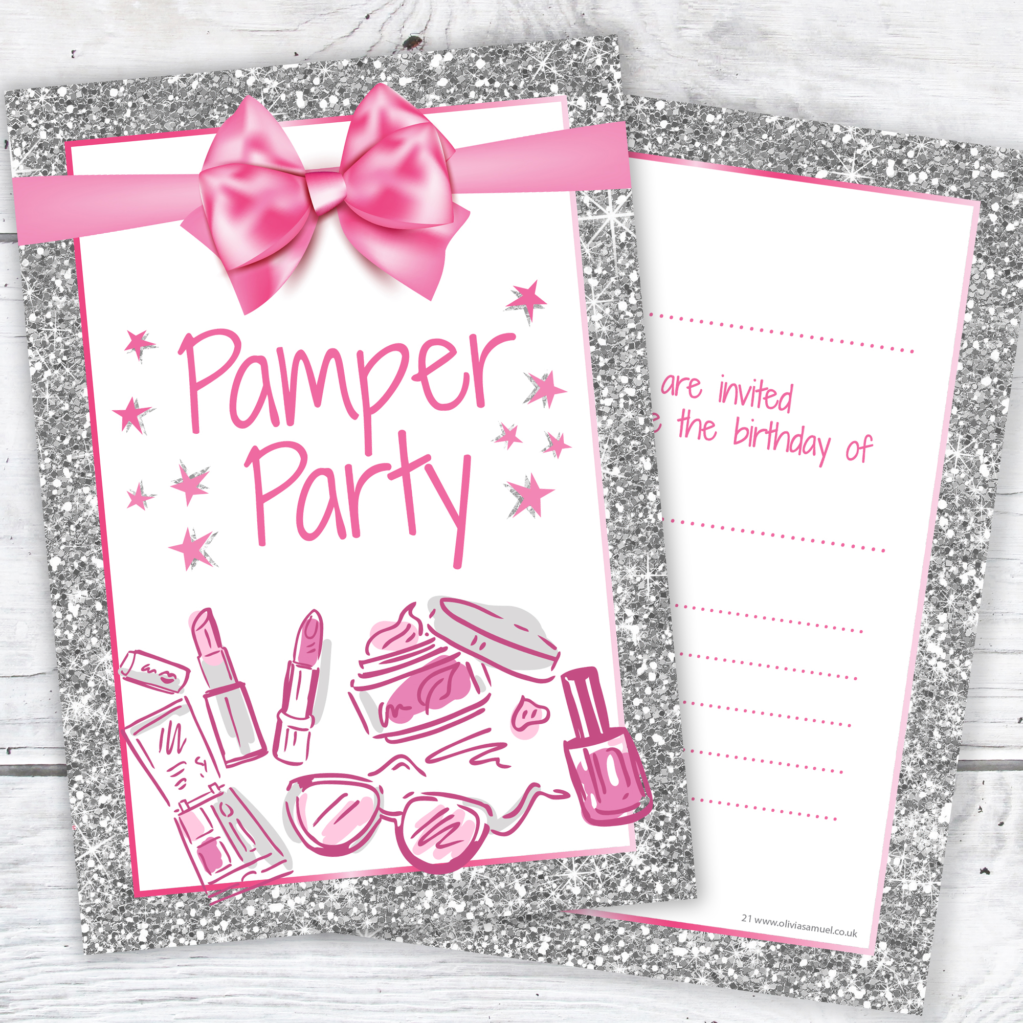Pamper Party Invitations Girl Teen Birthday Invites Pink And Photo Effect Silver Glitter