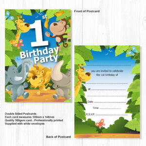 Marvelous 1St Birthday Party Jungle Themed Animal Invitations Ready To Funny Birthday Cards Online Alyptdamsfinfo
