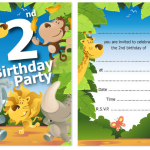 2nd Birthday Party Jungle Themed Animal Invitations Ready To Write With Envelopes Pack 10 Olivia Samuel