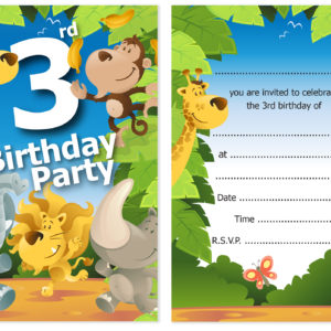 3rd Birthday Party Jungle Themed Animal Invitations Ready To Write With Envelopes Pack 10 Olivia Samuel