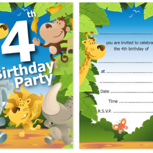 4th Birthday Party Jungle Themed Animal Invitations Ready To Write With Envelopes Pack 10 Olivia Samuel