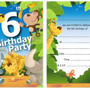 6th Birthday Party Jungle Themed Animal Invitations Ready To Write With Envelopes Pack 10 Olivia Samuel