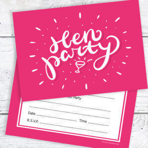 Hen Party Invitations Pink Ready to Write