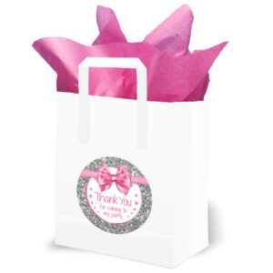 Thank You Birthday Party Bags Pink and Silver