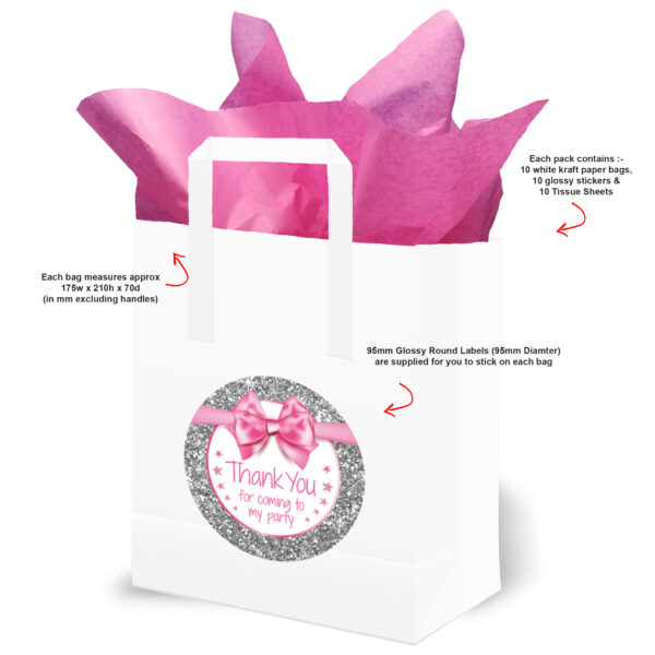 Thank You Birthday Party Bags Pink and Silver Text
