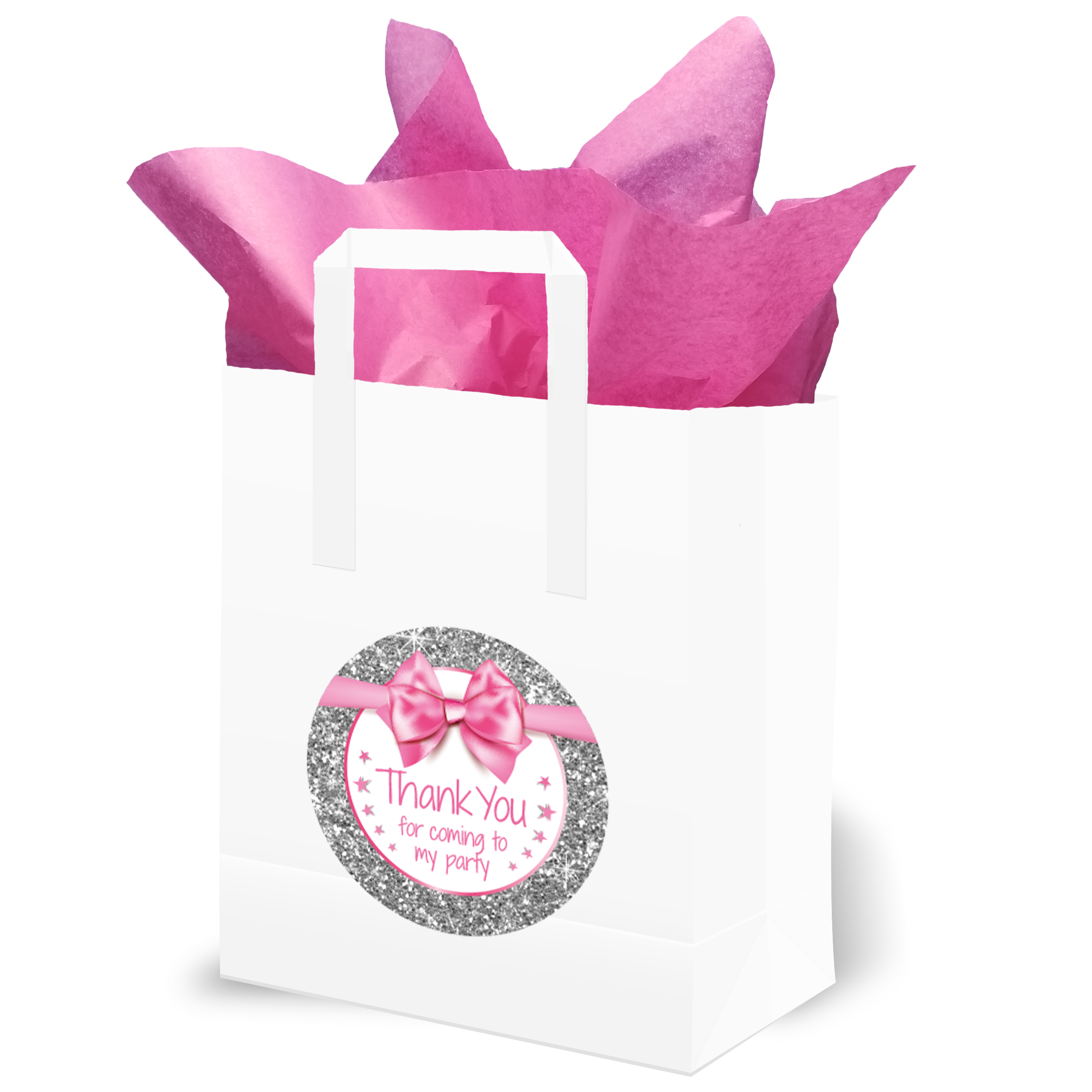 Party Bags Thank you for Coming to my Party Pink and Silver