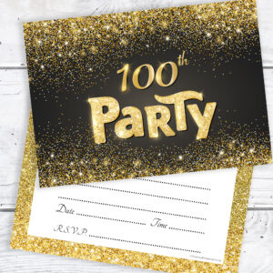 100th Birthday Party Invitations Black and Gold